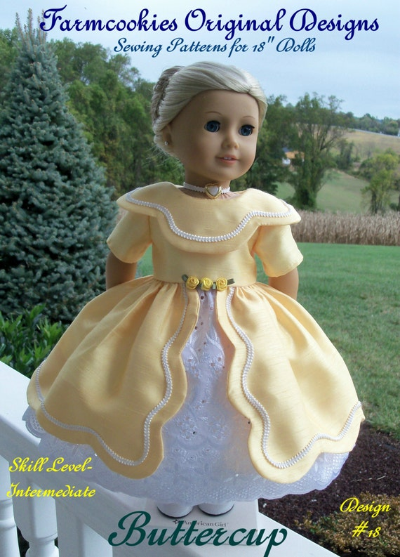 "PRINTED Sewing Pattern / Buttercup - for American Girl Marie Grace, Cecile, Caroline or other 18"" Dolls"