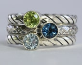 Customized For You:  4mm Gemstones Stacking Ring, Family & Mother's Rings, Sterling Silver stackable ring aquamarine, topaz, Custom made