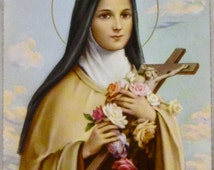 SAINT THERESE of LISIEUX, Framed Fratelli Bonella Holy Card, Made In Italy, Circa 1980's