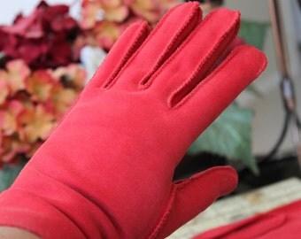 Vintage Gloves, Gloves, Red Gloves, Weddings, Tea Party, Red Wrist Length Ladies Gloves