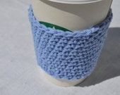 SiMPLiFY Sky Blue Basic Crochet Coffee Sleeve Reusable Hot Cold Drink Cozy Cotton Unisex Gift