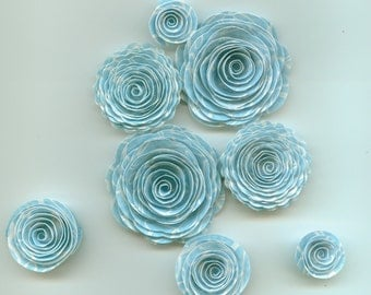 Little Pond Blue Handmade Spiral Paper Flowers