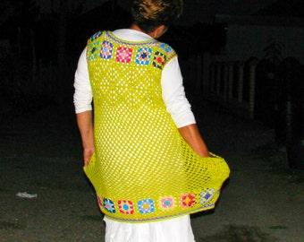 Plus Size Handcrocheted Tunic / Dress - Kiwi Green / Autumn Colors