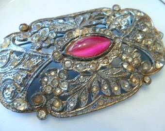 Authentic Victorian Brooch Pink Glass Gem and Rhinestones