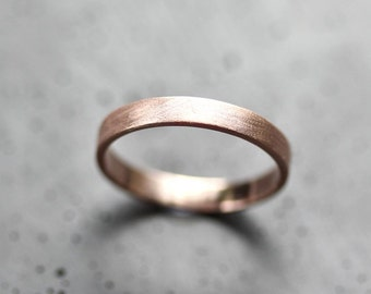 Rose Gold Women's Wedding Band Stackable Ring, 3mm Slim Recycled 14k Rose Gold Ring Brushed Pink Gold Women's Wedding Ring or Stacking Ring