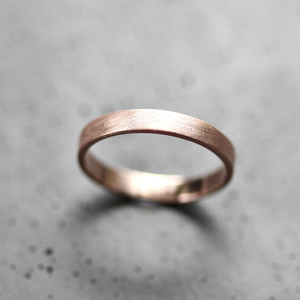Rose Gold Womens Wedding Band Stackable Ring 3mm Slim