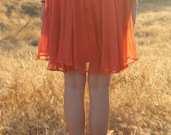 SERBERT Vintage 1960's Shift Dress Party Boho Layers Orange Chiffon Mini