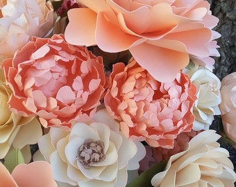 Paper Flowers - Wedding - Birthday - Special Events - Set of 24 - Mixed Sizes - Any Color -  Made To Order