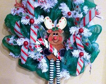 Christmas Floppy Leg Reindeer Deco Mesh Wreath