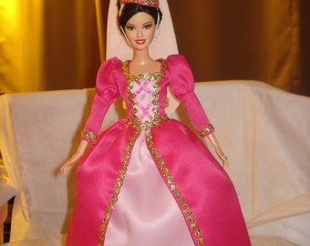 Renaissance princess in shades of pink for Fashion Dolls - ed420