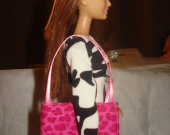 Hot pink Leopard tote bag purse for Fashion Dolls - bap13