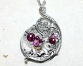 Steampunk Necklace - Alice In Wonderland White Rabbit Waltham Silver GUILLOCHE ETCHED Antique Pocket Watch Movement Steampunk Necklace Gift