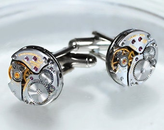 LONGINES Men Steampunk Cufflinks -Rare Luxury Swiss Silver Vintage Watch Movement Men Steampunk Cufflinks Cuff Links Wedding Gift Men
