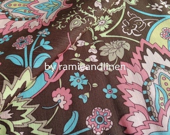 "silk fabric, floral print silk cotton blend fabric, half yard by 44"" wide"
