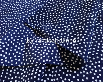 "Silk fabric, elegant polka dots print on dark navy blue crepe de chine silk fabric, pure silk fabric, dress fabric, one yard by 44"" wide"