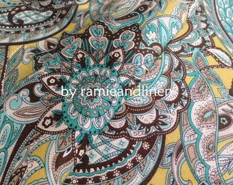 "silk fabric, paisley floral print silk cotton blend fabric, one yard by 54"" wide"