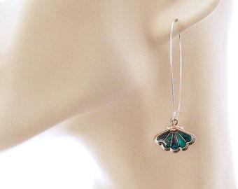 Teal Blue Earrings: Teal Blue Paua Shell Earrings, Long Blue Drop Earrings, Blue Earrings, Scallop Shell Earrings