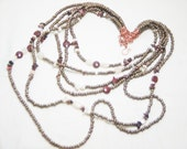Dramatic Beaded Bib Necklace Featuring Czech glass Matte Copper beads with Red Jasper and Moonstone - Symphony of Seeds - Art Jewelry