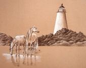Island Natives - Charcoal Sketch - 11x14in. Print
