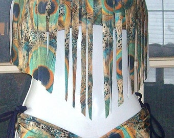 Peacock print fringe bandeau top