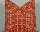 SALE Gorgeous Geometric Designer Pillow BOTH SIDES Decorative Pillow Cover Indoor/Outdoor Throw pillow, orange sorbet trellis lattice