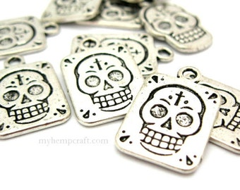 Sugar Skull Charms, Metal Silver Color 13x20 Halloween Charms