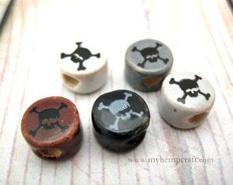 Skull Crossbones Beads, 5pc Tiny Ceramic 8mm Skull Disc Beads
