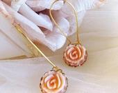 Sweet Coral Flower LONG  Earrings