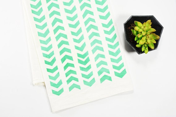 Tea Towel - Screen Printed - Mint Arrows on White