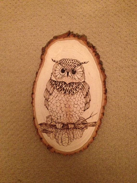 Items Similar To Beautiful Hand Crafted Owl Woodburning On