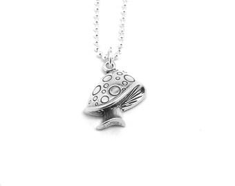 Mushroom Necklace, Mushroom Jewelry, Mushroom Pendant, Toadstool Necklace Charm Necklace, Sterling Silver Jewelry, Mushrooms, Mushroom Charm