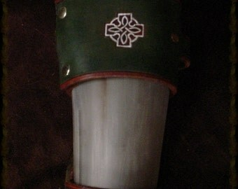 Large 17 Inch Celtic Cross and Knot DRINKING HORN with Kelly Green and Burnt Orange Carrying Strap
