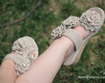 CROCHET PATTERN: Sand Flower Sandals - Permission to Sell Finished Product