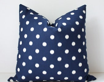 "Navy Blue cream polka dots Decorative Designer Pillow Cover 18"" Accent Cushion ikat dark spots preppy circles fall fashion ivory"