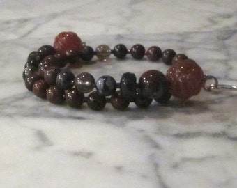 Natural Red Stone and Crystal Base Root Chakra Healing Bracelet