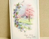 Unused Vintage Card 1950s Farmhouse Cottage Paper Ephemera Scrapbooking