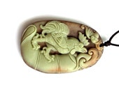 One Bead Two Layer Natural Stone Fortune Zodiac Rooster Bat Charm Amulet Pendant 50mm x 33mm  ZP001