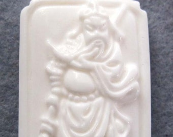 Tridacna Shell Han Dynasty Guan-Gong Amulet Pendant 37mm x 23mm  T1994