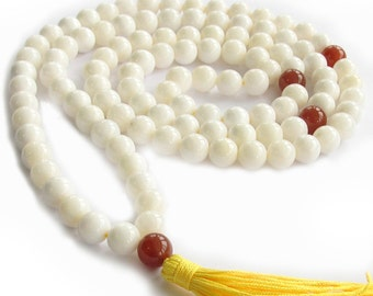 10mm White Tridacna Shell With 10mm Red Agate Meditation Yoga Buddhist 108 Prayer Beads Mala Necklace  ZZ276