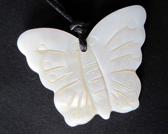 Luster Ivory Sea Shell Butterfly Bead Pendant Charm 33mm x 25mm  T2261