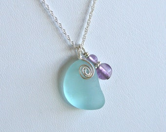 Sea Glass Jewelry Aqua Necklace Fluorite Sterling Silver
