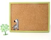 Cork Board for children green message board with zebra, Bulletin Board, memo board, graduation gift