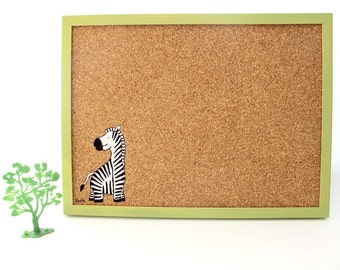 Cork Board for children green message board with zebra, Bulletin Board, memo board, graduation gift