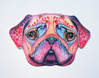 "Pug face sticker, ""Pugberry Face"" dog sticker, // SALE 3 for 2 //100% waterproof vinyl label. New on Teva Kiwi"