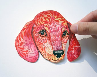 Dachshund dog face sticker cute puppy face washable label.