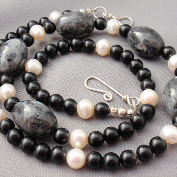 Black Moonstone Necklace Onyx Beads and Cultured Pearls with