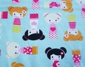 Happy Girls on Blue  - Cotton Flannel Fabric - BTY