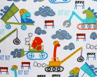 Construction Dinos - FLANNEL - Fabric - BTY