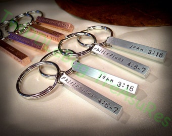 Pewter Bar - Copper Bar - Aluminum Bar - Handstamped Ketchain - Bar Keychain - You Choose Metal