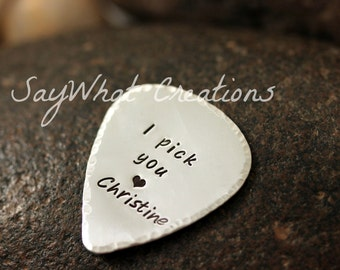 Personalized Hand Stamped Guitar Pick Sterling Silver